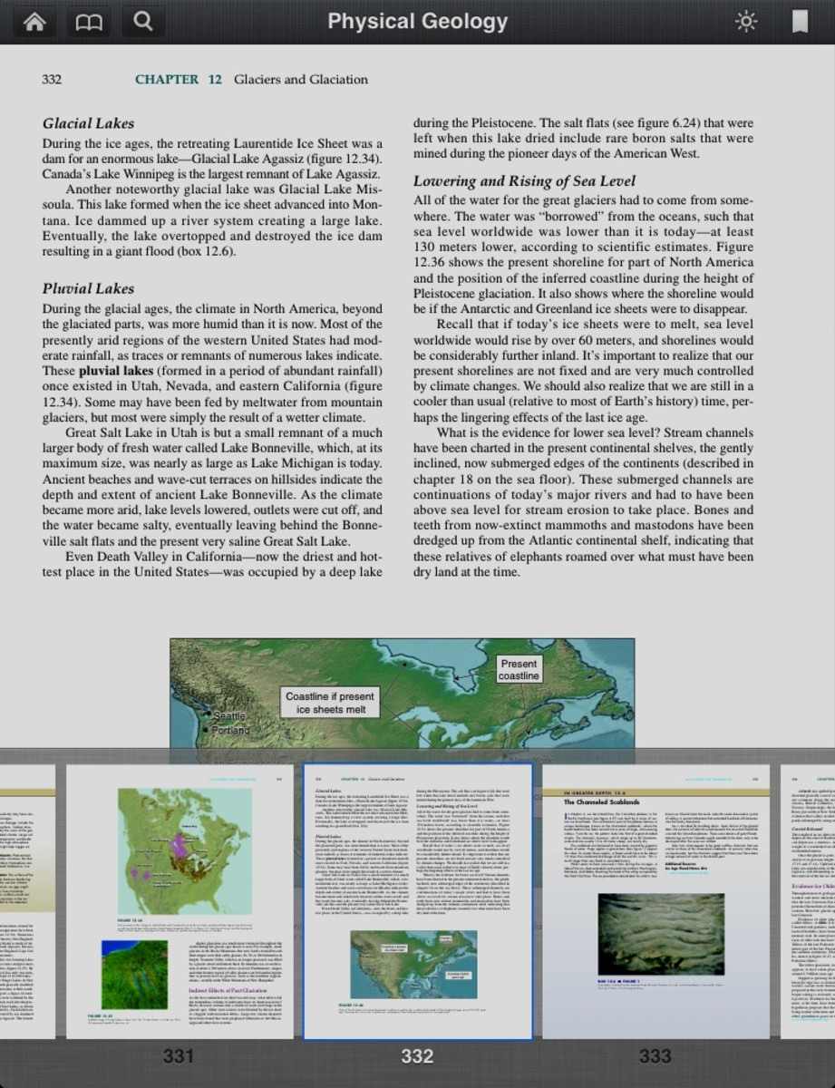 On the iPad you can sideswipe on the thumbnails of the pages on the bottom have scroll through the pages quickly.