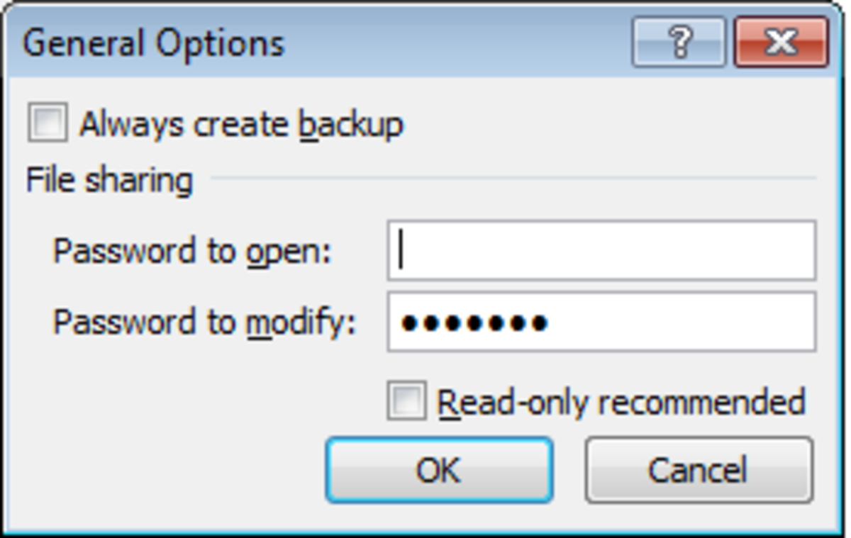 Dialogue box to add a password to allow a user to modify the file as well as another password to open the file in Excel 2007 and Excel 2010. You can also allow people without a password read only access.