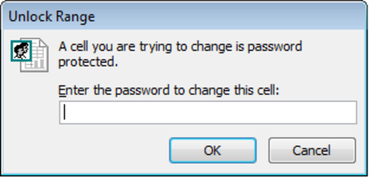 Dialogue box a user will receive when trying to modify a range of cells that do not have permission to modify in Excel 2007 and Excel 2010.