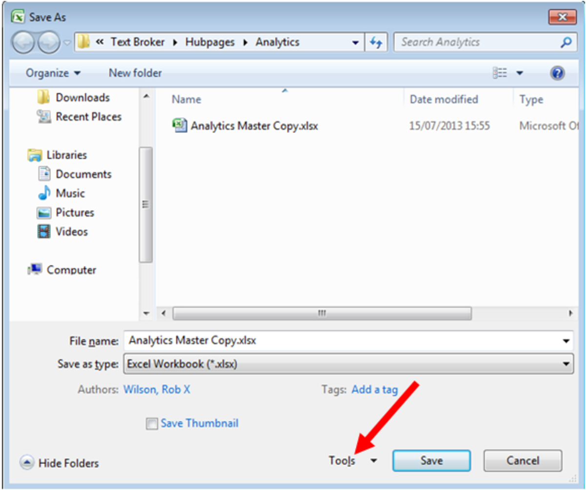 How to access the Tools drop down box in Save As in Excel 2007 and Excel 2010.