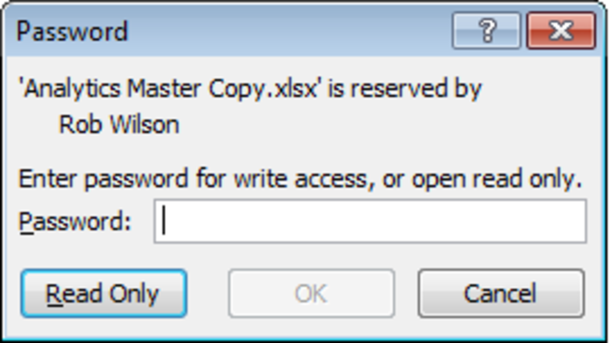 Password box as it appears to a user opening a protected file in Excel 2007 and Excel 2010.