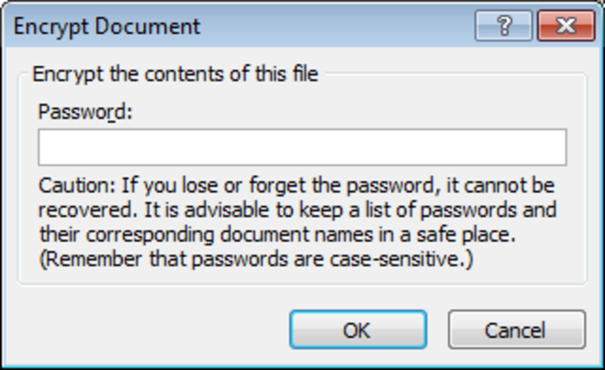 Set a strong password to encrypt a confidential document in Excel 2007 and Excel 2010 and then store the password in a secure location.