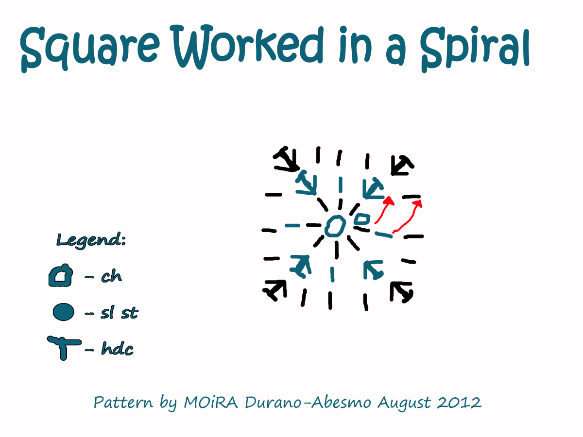 The square is now being worked in a spiral.
