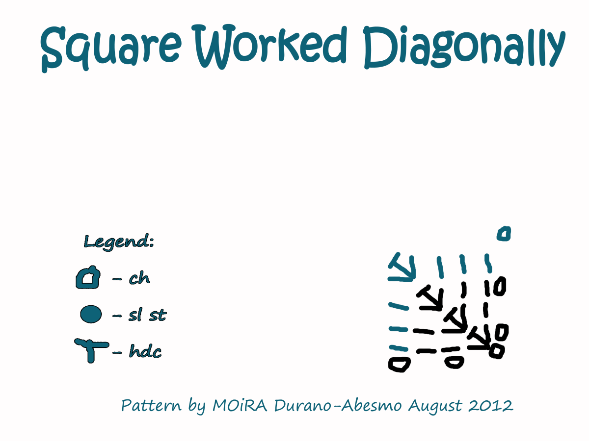 The Diagonal Square will lie flat because it is worked back and forth.