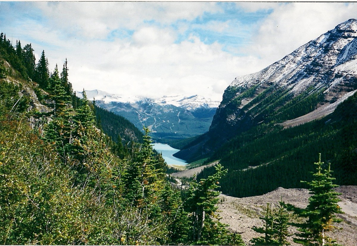 Lake Louise As Seen From A Trail Above The Lake