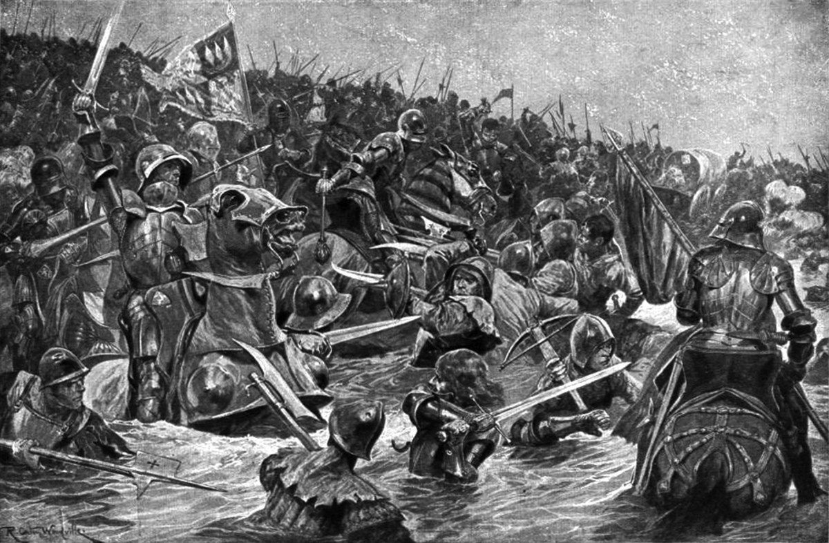 The Battle at Towton spills over into the ice-cold river. Many drowned in the icy cold water, used as 'human pontoons' by their fellows trying to get across Cock Beck from their Yorkist pursuers.