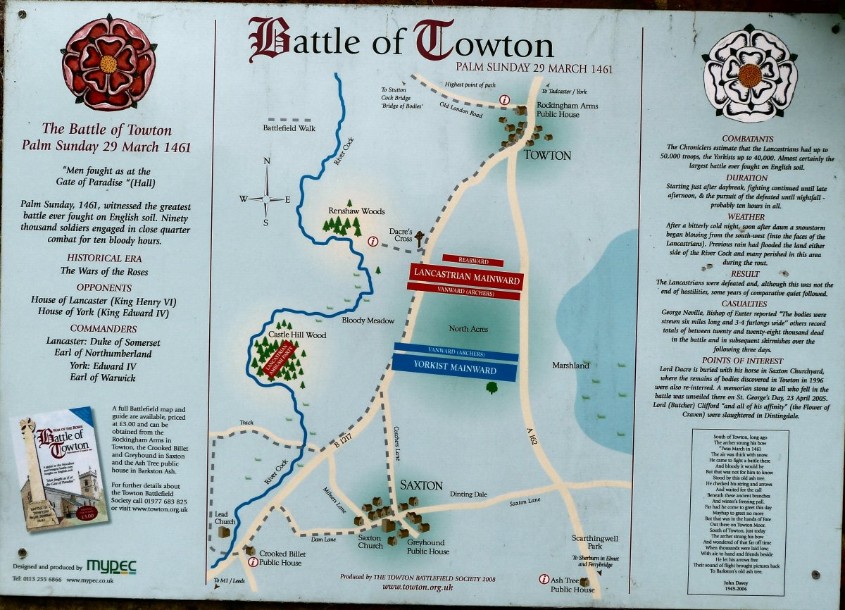 Towton Battlefield Walk - historical society - see also the cross-section of the battlefield above