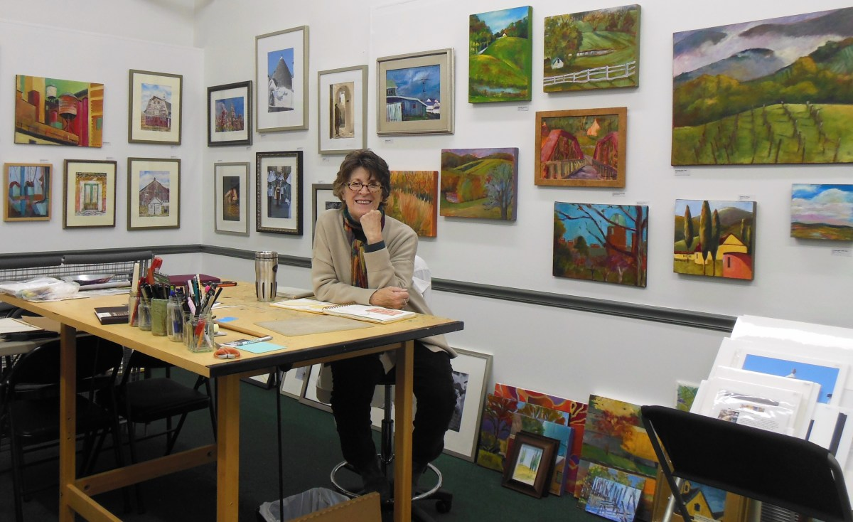 Rosemary Connelly in the NEW Live Cheap & Make Art Studios she shares with her husband, Bob. It's at Penney Square and the address is 39 N. Walnut St., Suite 105 Milford, DE 19963.