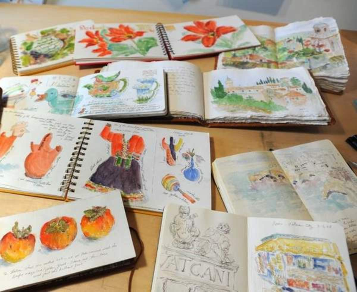 A grouping of Rosemary Connelly's beautiful watercolor journals.