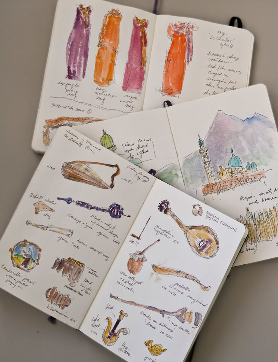 Pages from some of Rosemary's Italian journals.