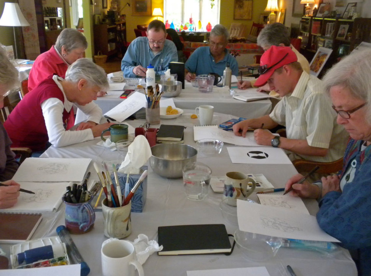 AM drawing exercises at Arden, DE workshop.