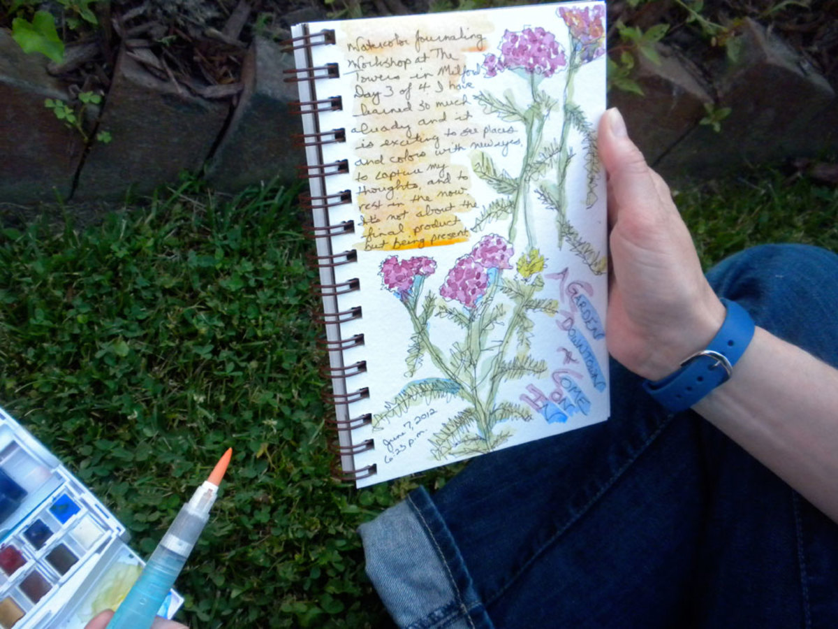 Student's journal from a workshop that Rosemary gave at the Towers B & B in Milford, DE.