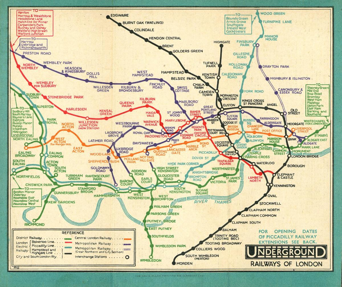 This geographical version of the Tube map dates from 1907. We can see even at this early time the Tube network was extensive.