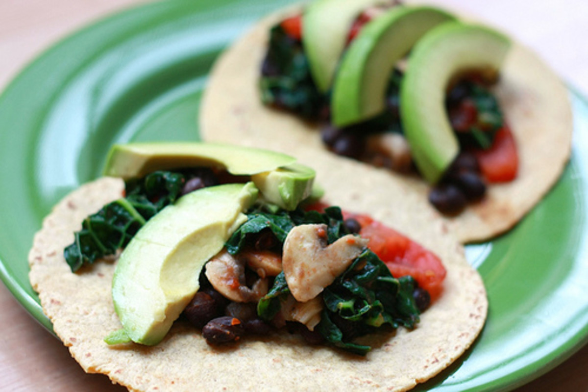Try black bean and veggie tacos. Not vegetarian given the bean's preparation, but still pretty healthy.