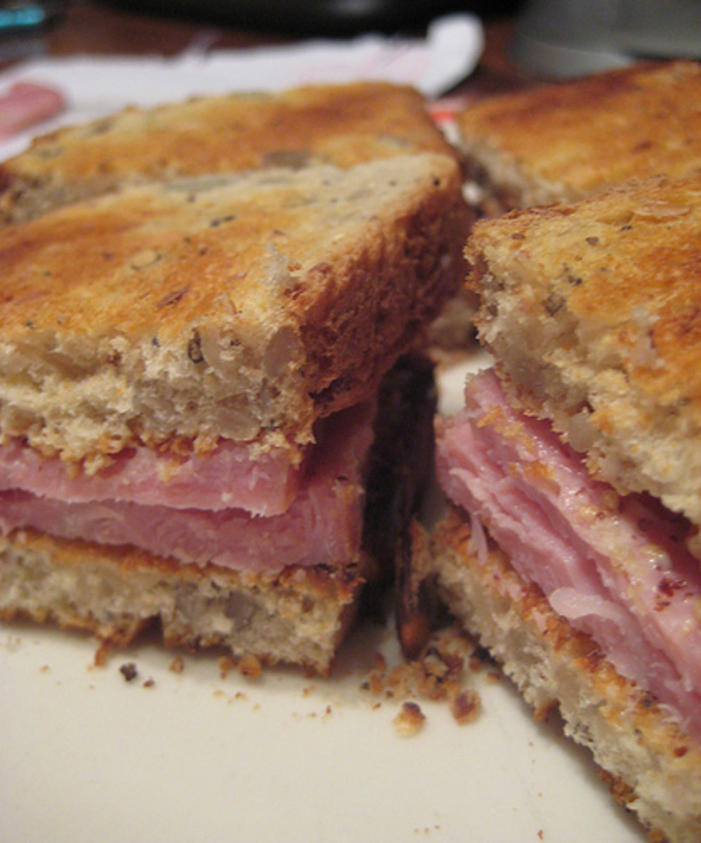 Thick slices of ham make excellent sandwiches. Paired with mustard and crusty artisan bread for an awesome lunch.  Add a few microgreens for a more balanced meal.
