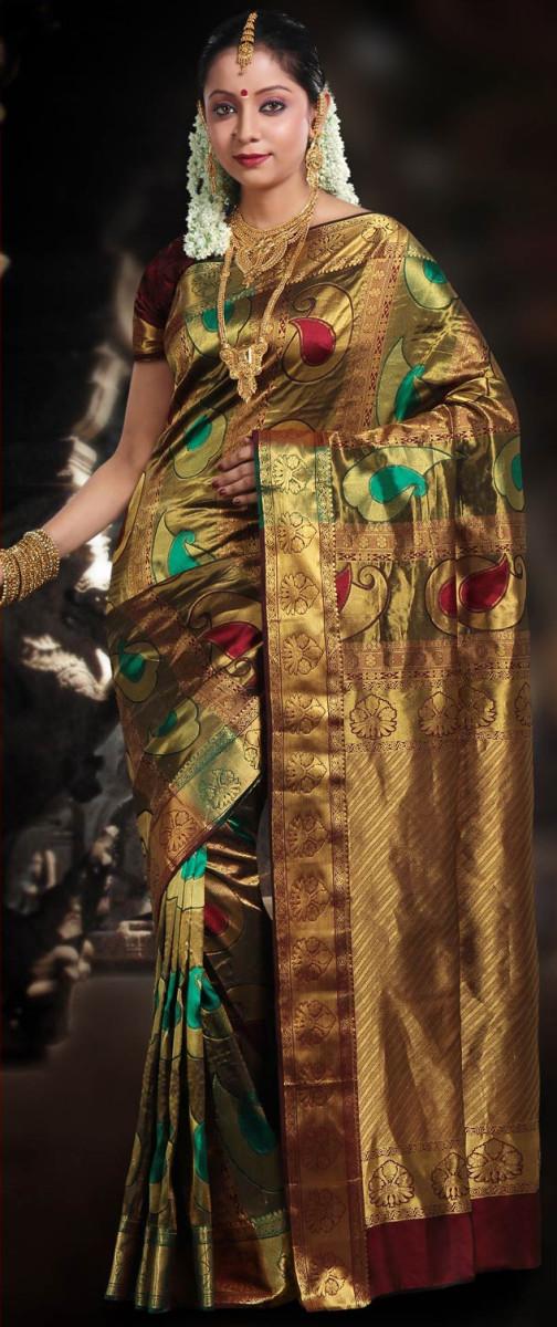 Multicolor Bangalore Silk Saree with Blouse