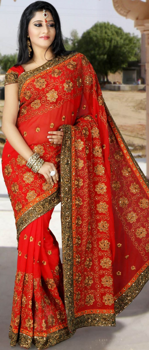 Romantic Maroon Faux Georgette Saree with Blouse