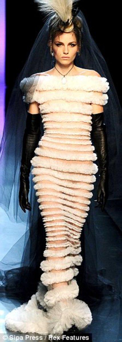 Andrej Pejic modeling Gaultier wedding dress
