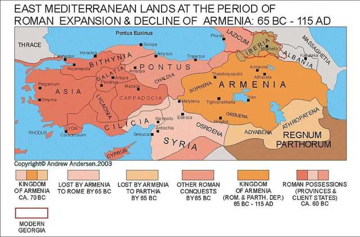 Armenia on the map throughout different periods in history.