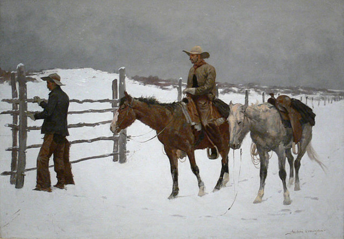 """""""The Fall of the Cowboy"""", an 1895 painting by Frederic Remington (1861-1909)."""