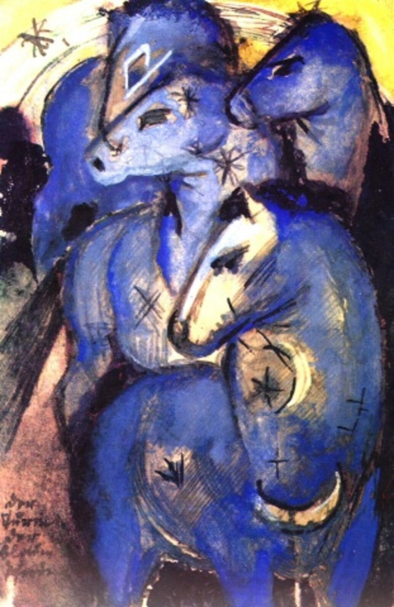 """""""Tower of Blue Horses"""" by German painter Franz Marc (1880-1916)."""