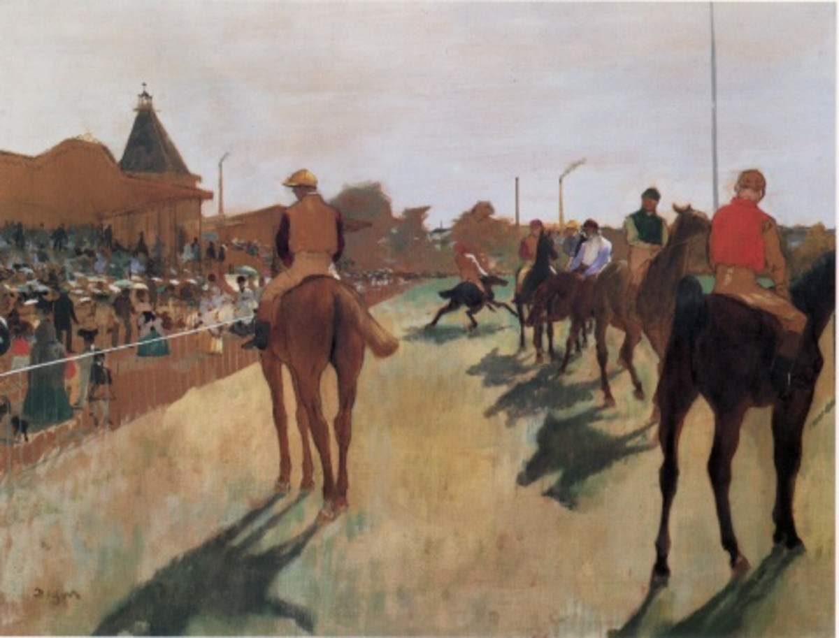 """""""Horses Before the Stands"""" by Edgar Degas (1834-1917)."""