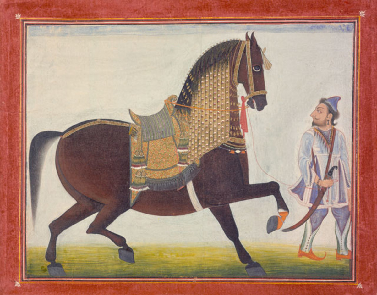 """""""A Horse and his Trader"""" by Rajput artist Bagta, painted circa 1800."""
