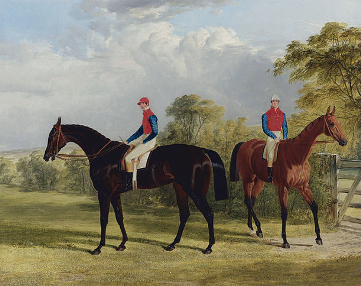 """'The Earl of Chesterfield's 'Industry' with W Scott Up and Caroline Elvina With J Holmes Up in a Paddock"""" by J.F. Herring (1795-1865)."""