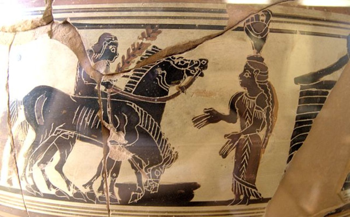 A Laconian 'dinos' mixing bowl from circa 560-540 BC depicting Achilles on horseback approaching Troilus and Polyxena. This piece is now on display at the Louvre.