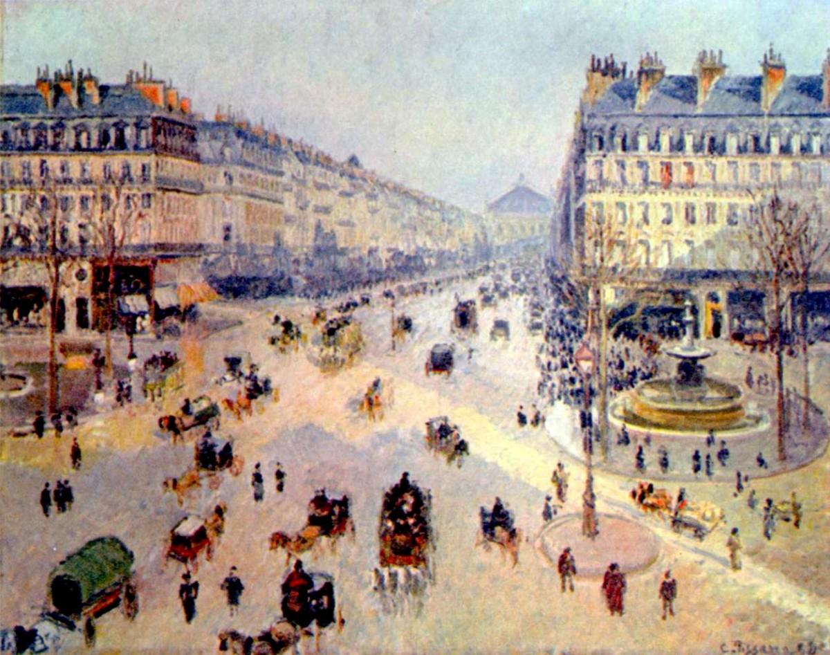 Avenue de l'Opera, soleil, matinee d'hiver  ( Paris, 1898) : Camille Pissarro,