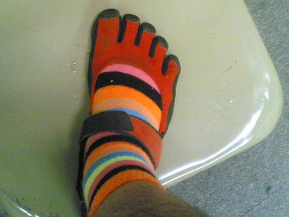 Toe socks worn with toe shoes