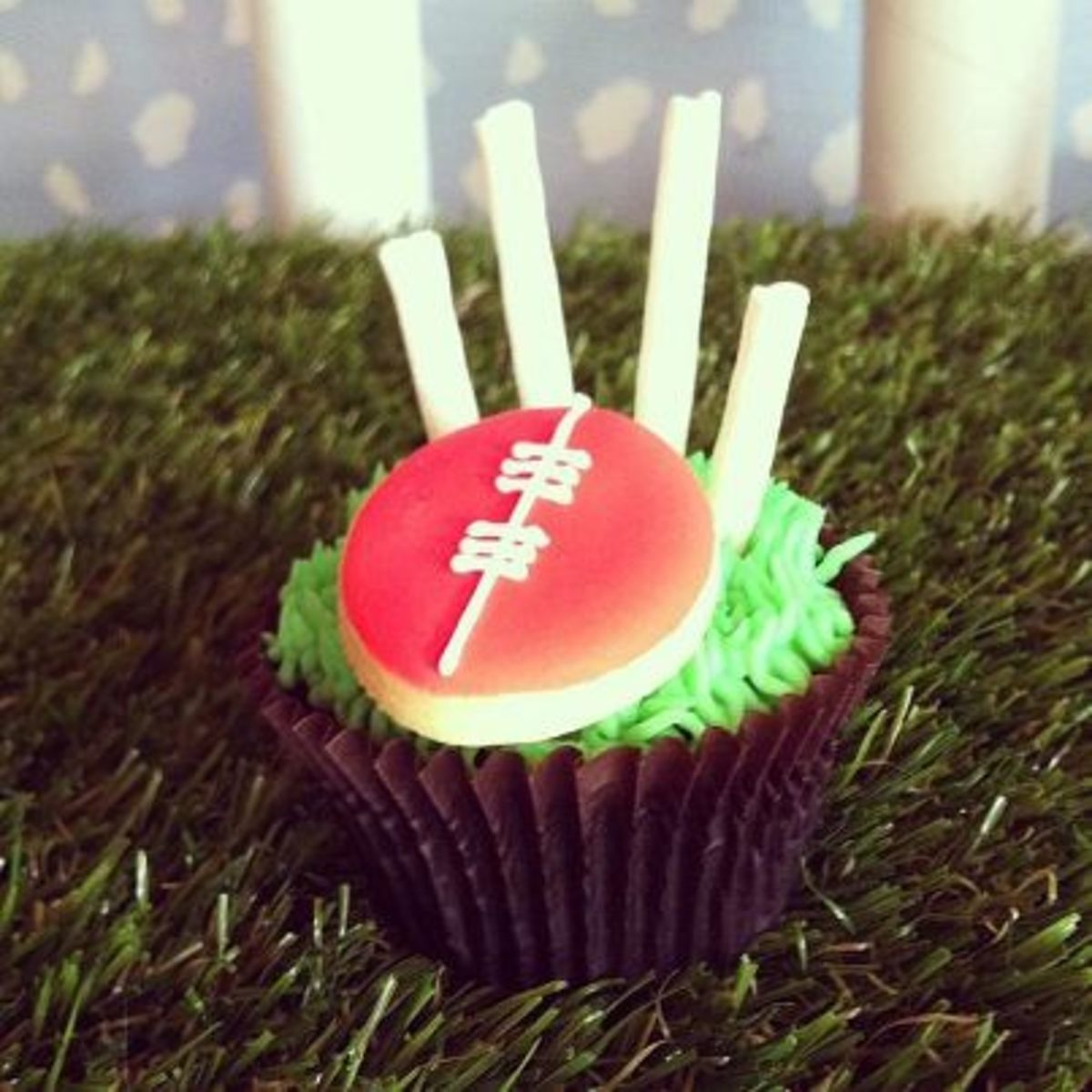 Goal posts and ball cupcakes