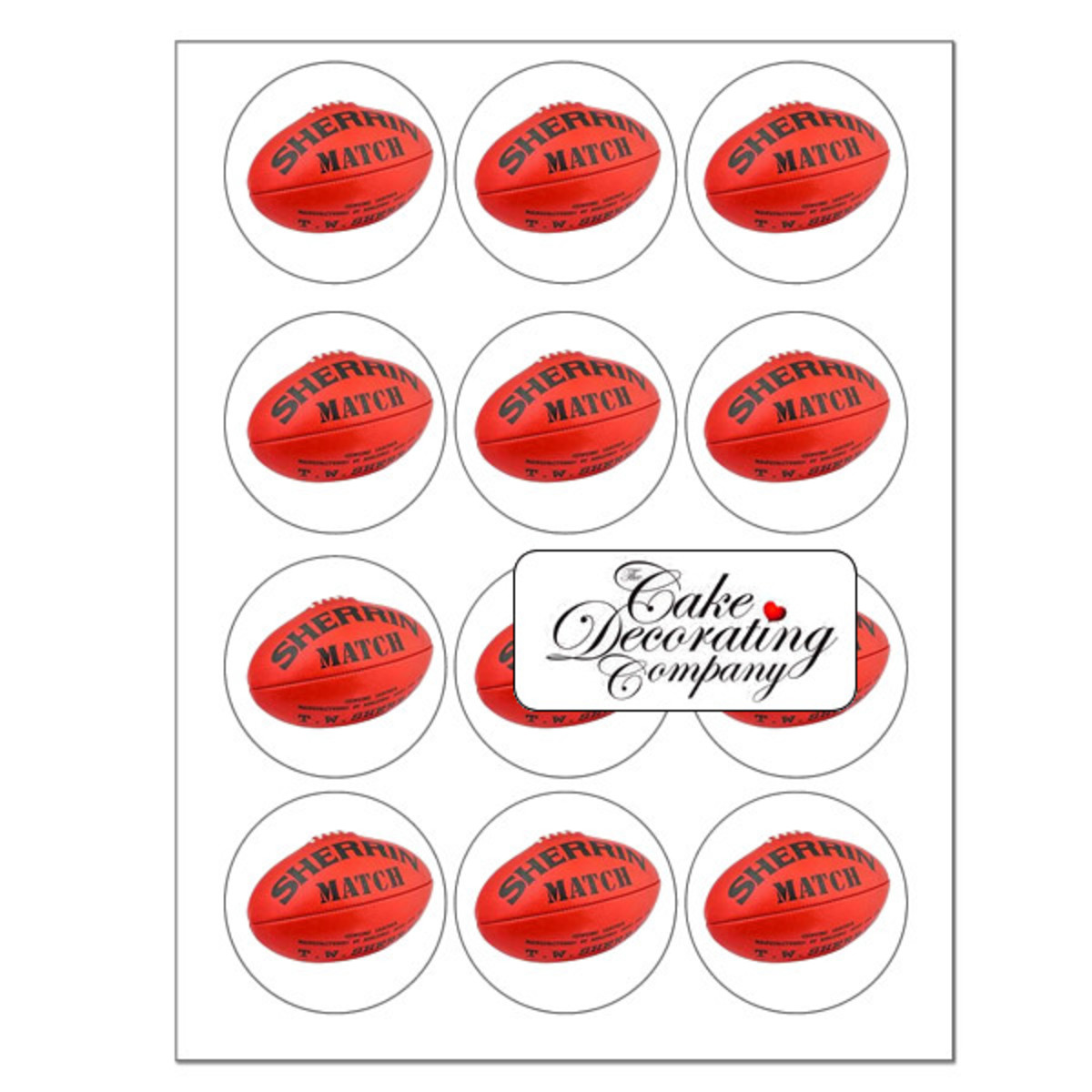 Sherrin football cupcake toppers