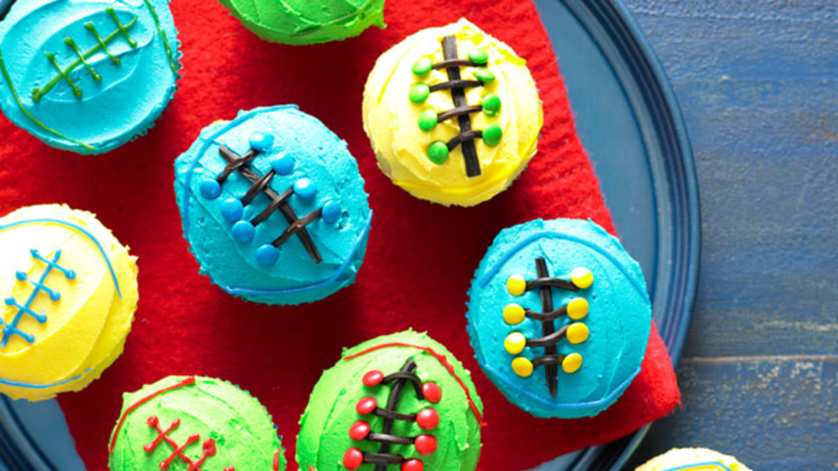 Bright football cupcakes with lacing detail