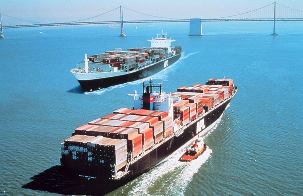 Container ships transport goods like toys around the world