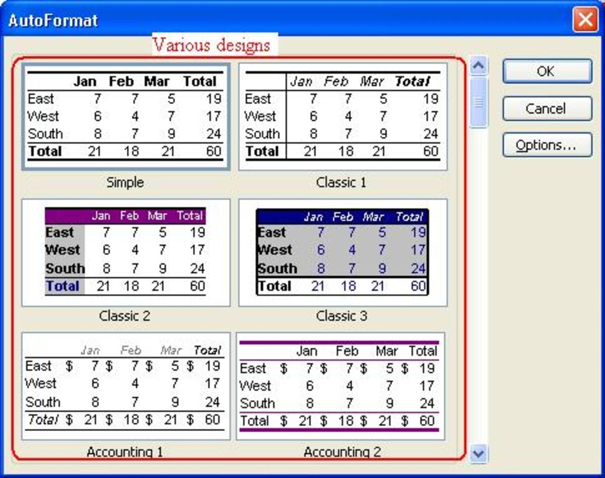 The auto-format option allows to pick any design for your worksheet