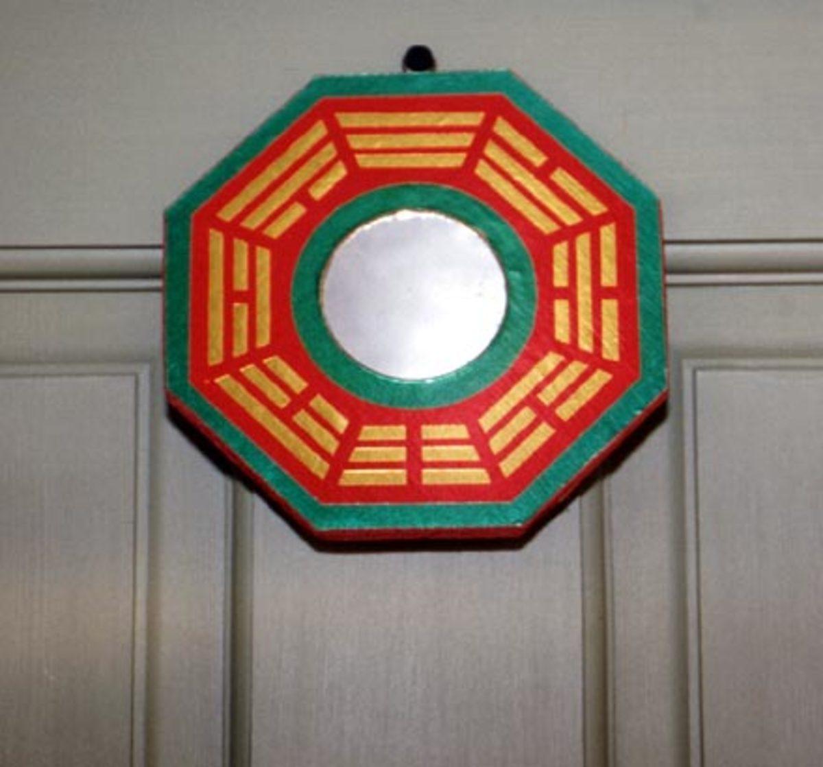 Feng Shui Bagua mirror above door.