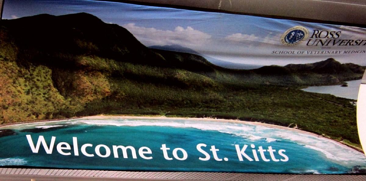 Welcome Banner in the Robert L Bradshaw International Airport