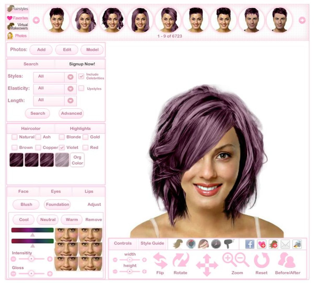 Virtual hairstyles makeover.