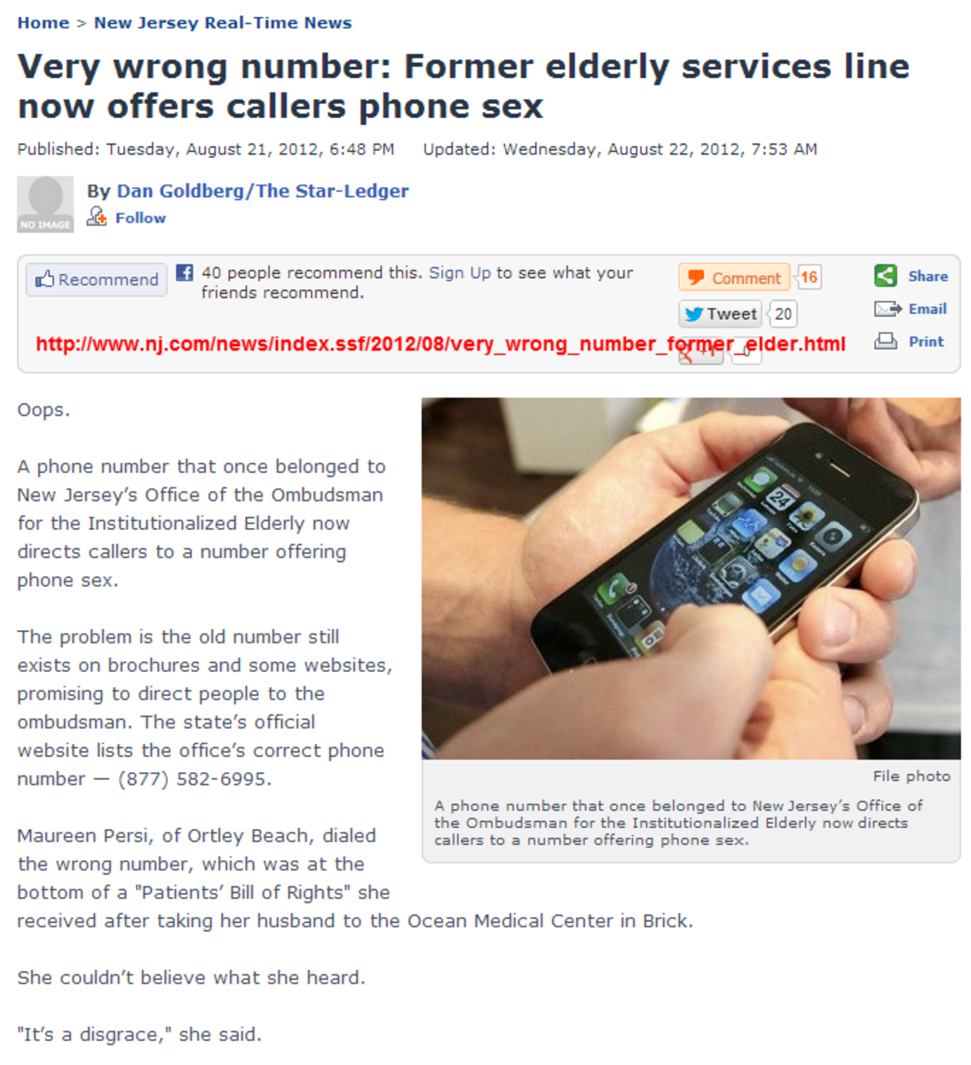 New Jersey Senior Ombudsman number is now a phone sex line. Oops.