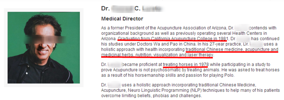 This accupunturist is medical director for a nutritional supplement company, really.