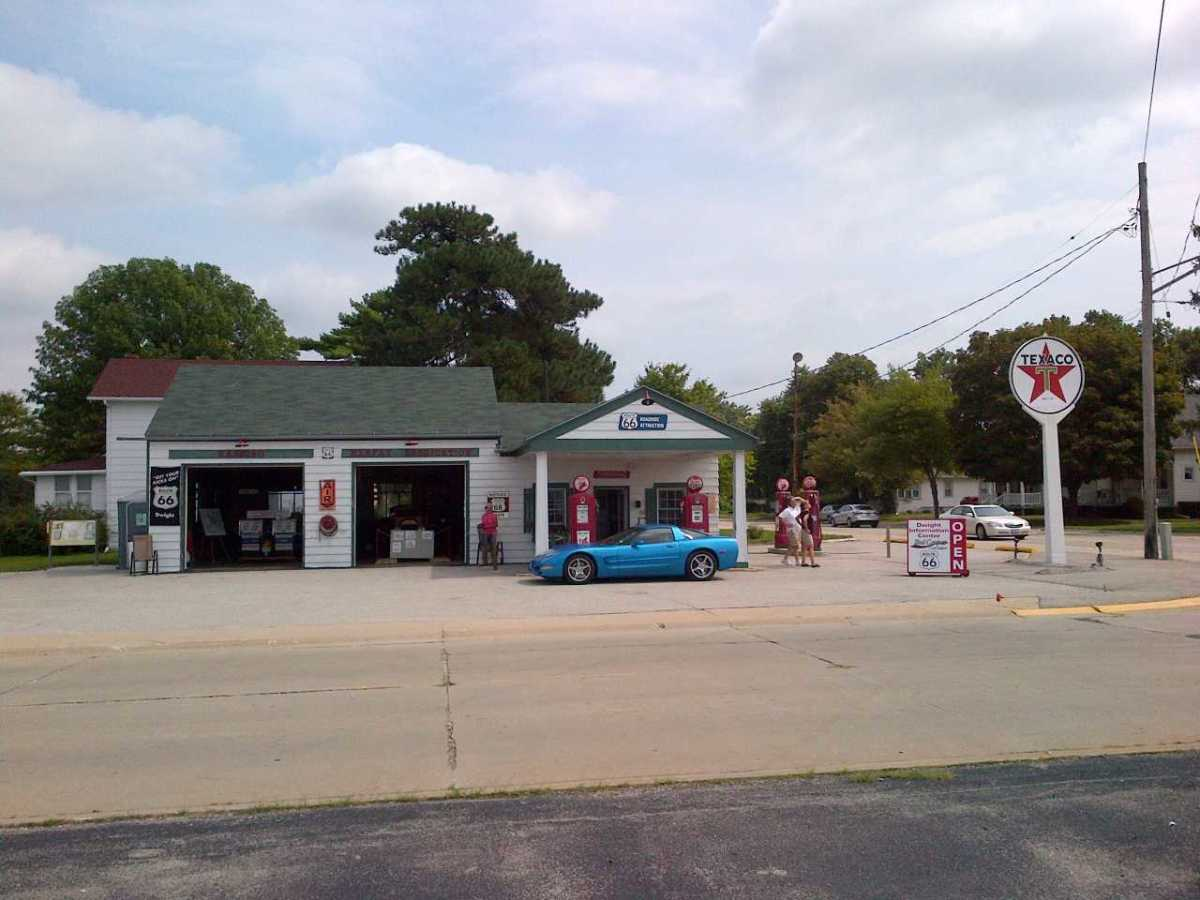 Restored 1933 gas station and historic site on Old Route 66 in Dwight, Illinois.