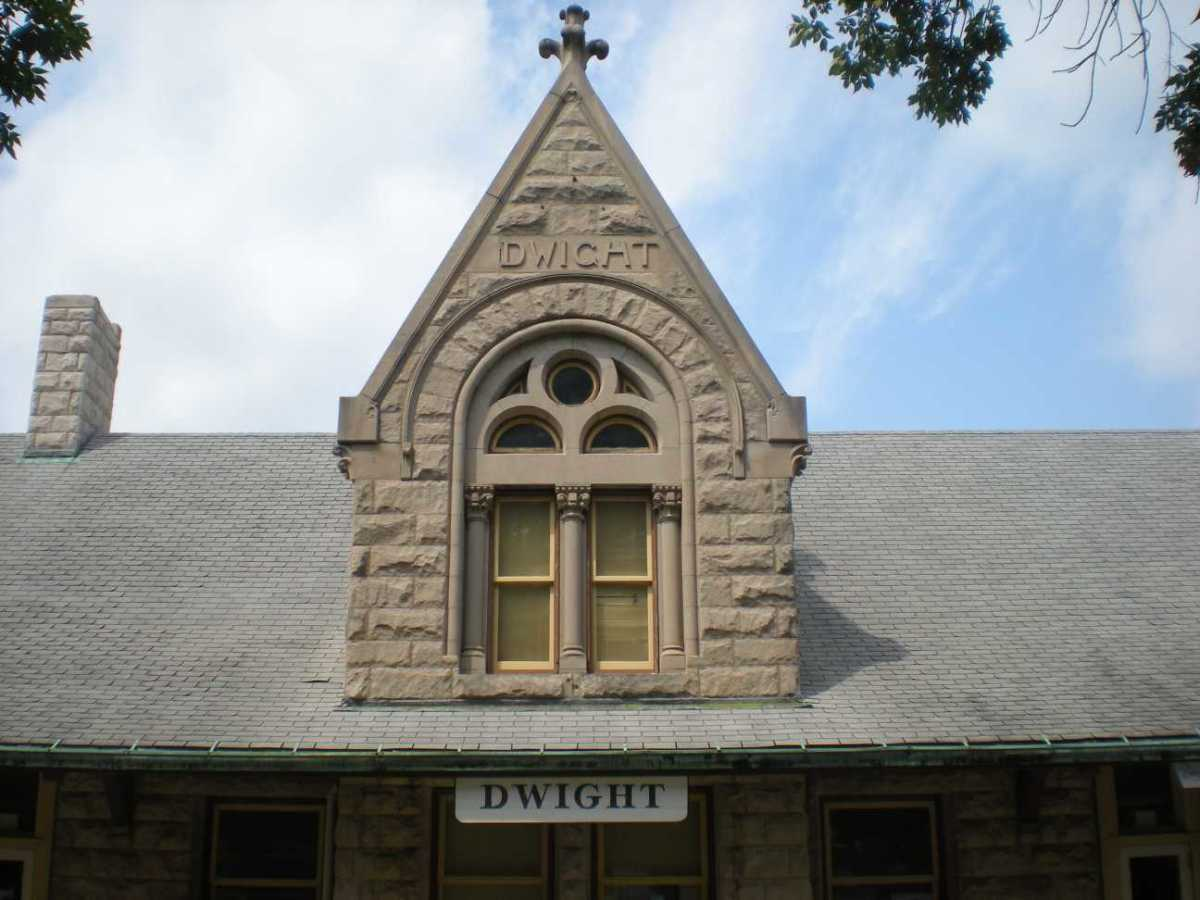 Details of decorative gable on Dwight, Illinois train station, 1892.