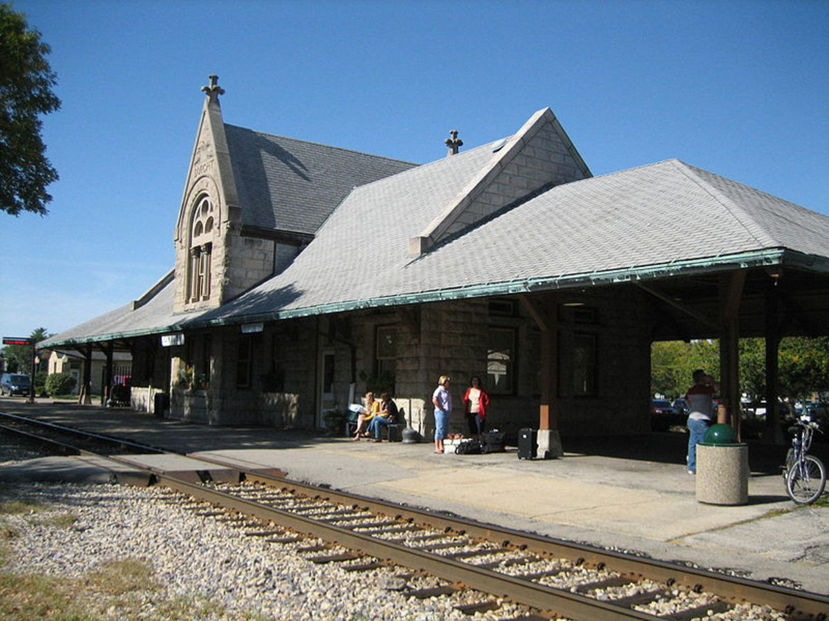 Henry Ives Cobb's 1892 railroad station in Dwight, Illinois.