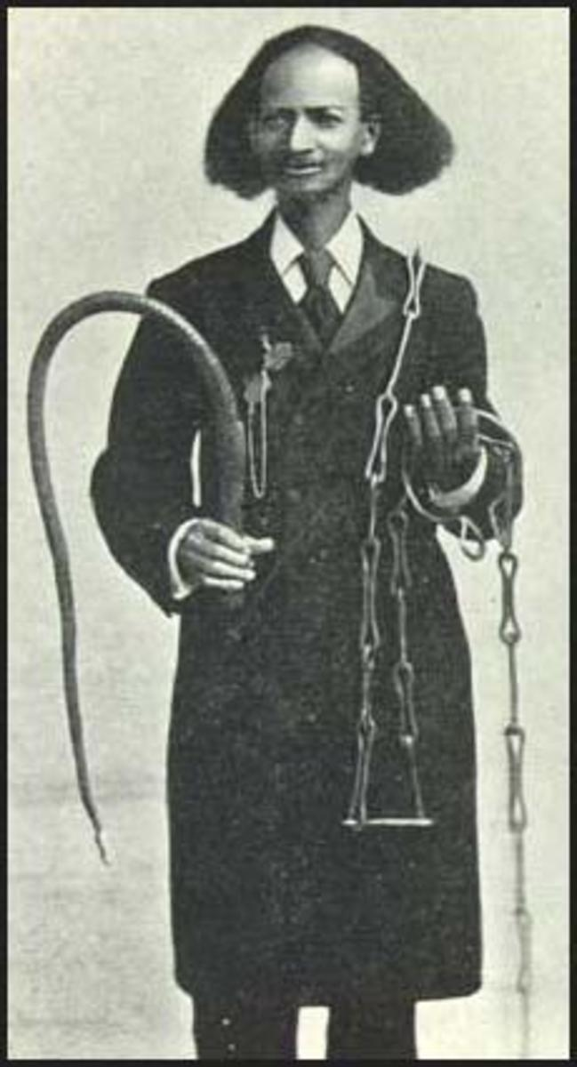 "Thomas Johnson with slave whip and chains:. James Ramsay stated: """"The ordinary punishments of slaves, for the common crimes of neglect, absence from work, eating the sugar cane, theft, are cart whipping, beating with a stick, sometimes to the break"