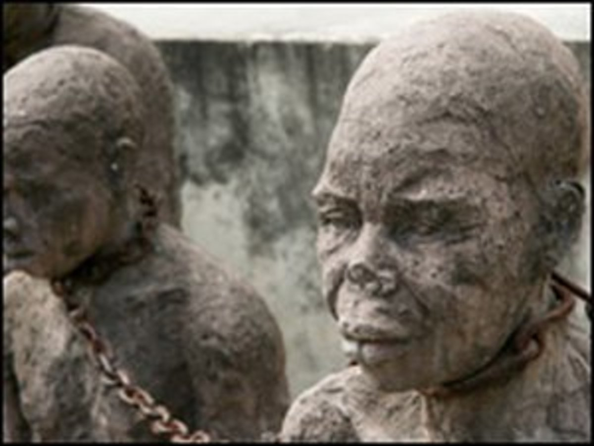Statues in Stonetown, Zanzibar mark the center of the slave trade in East Africa
