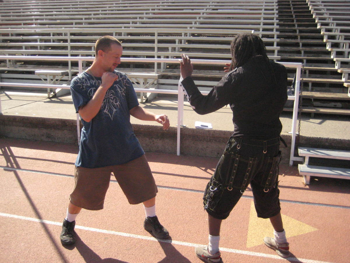 The beginning of the freestyle sparring technique in Kenpo called B1a. Jamie and Glenn face off.