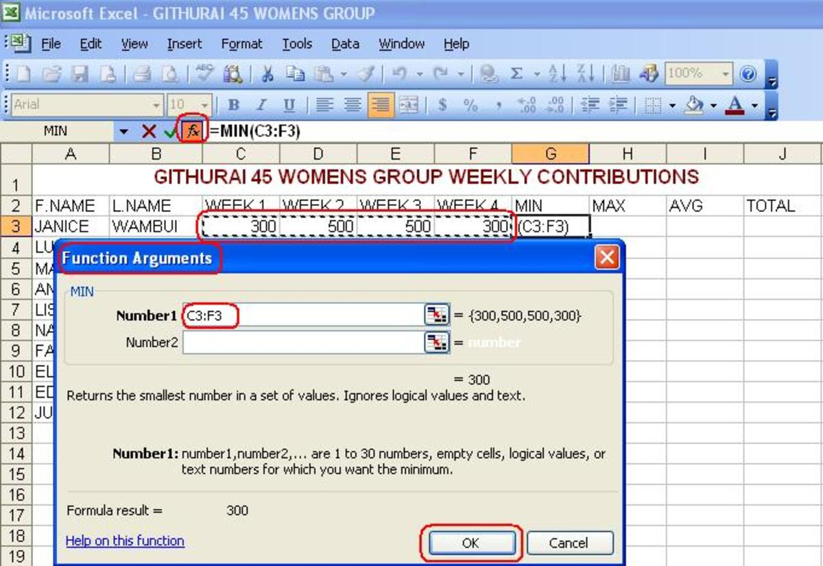Performing calculations in Excel
