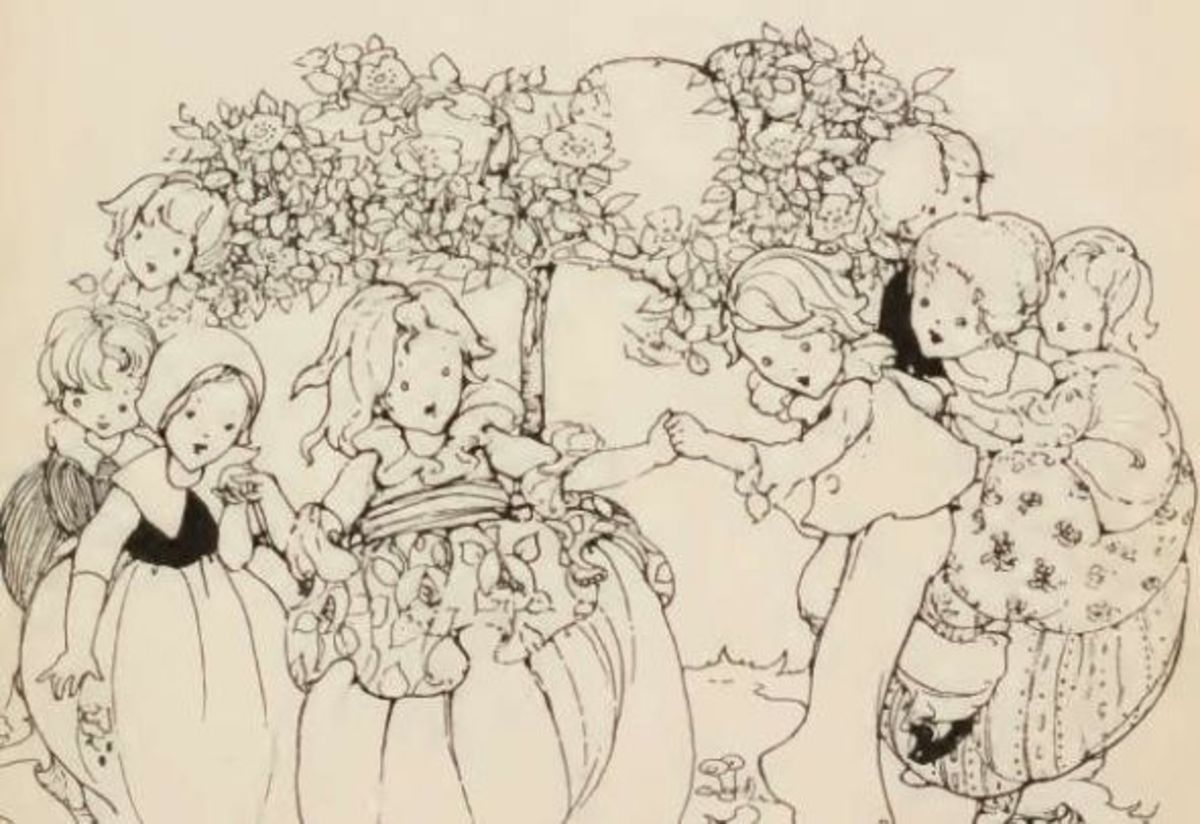 Anne Anderson, black and white illustration from Old English Nursery Rhymes