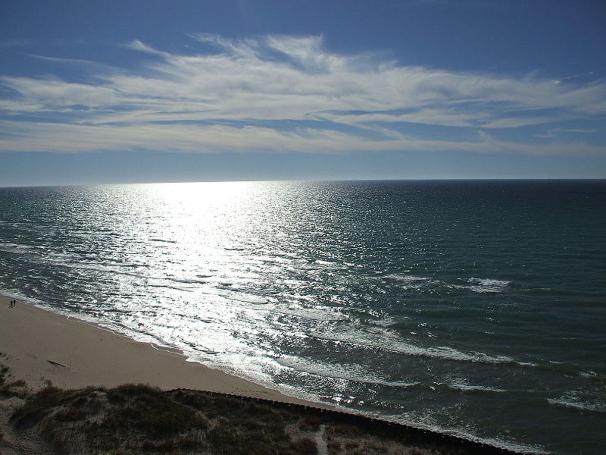 Lake Michigan as seen from the top of Big Sable Point lighthouse.